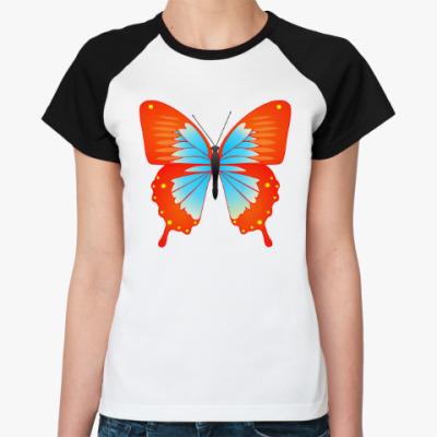 Женская футболка реглан Бабочка счастья