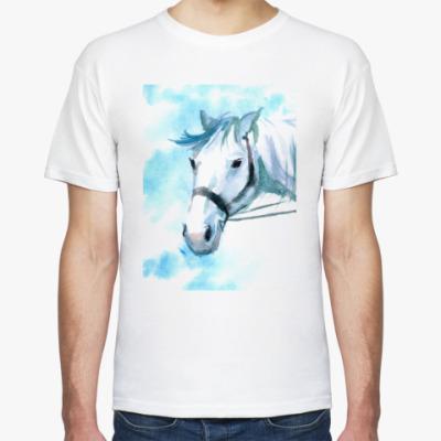 Футболка лошадь акварель