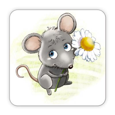 Костер (подставка под кружку) Мышонок с ромашкой
