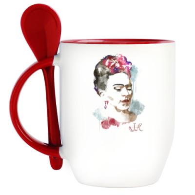 Кружка с ложкой Фрида Кало - художница