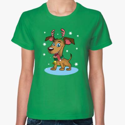 Женская футболка Новогодний пес
