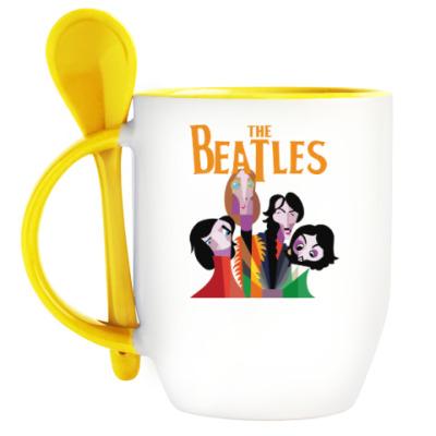 Кружка с ложкой Битлз, Beatles