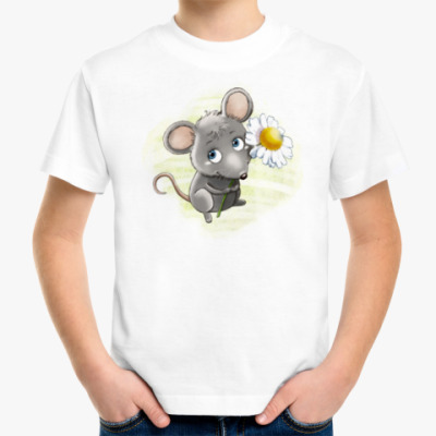Детская футболка Мышонок с ромашкой