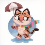 Кот под зонтом