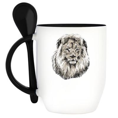Кружка с ложкой Лев
