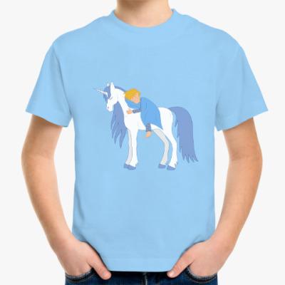 Детская футболка Малыш и единорог/ Unicorn and little boy