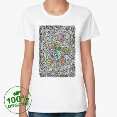 Женская футболка из органик-хлопка Священный символ ОМ (АУМ)