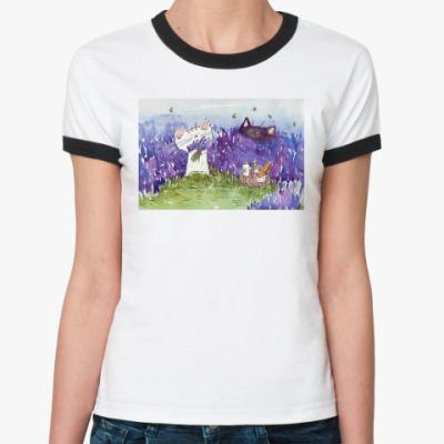 Женская футболка Ringer-T Утро в лавандовом поле