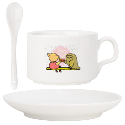 Поросенок пьет чай. Символ Нового года.