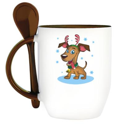 Кружка с ложкой Пёс - оленьи рога