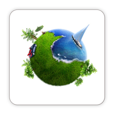 Костер (подставка под кружку) круглый мир