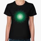 Классическая женская футболка зеленая загадка