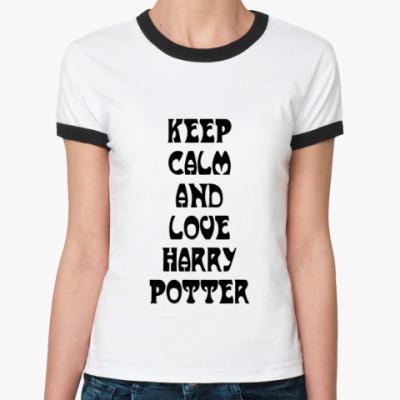 Женская футболка Ringer-T  'Keep calm'