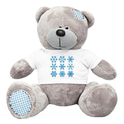 Плюшевый мишка Тедди снежинки (зимнее настроение)