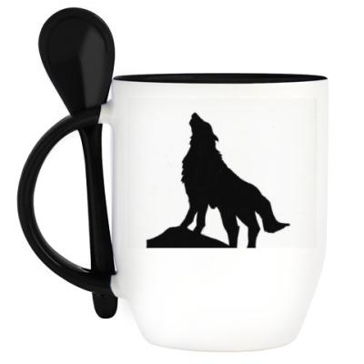 Кружка с ложкой Lonely Wolf