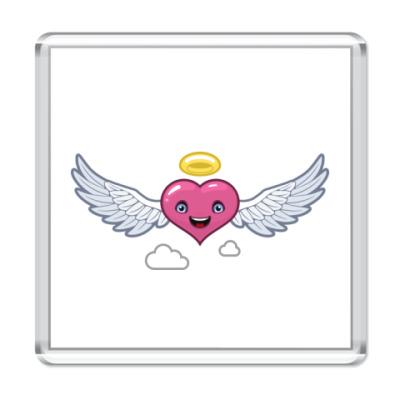 Магнит сердце-ангел