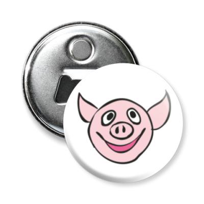 Магнит-открывашка Счастливый свин