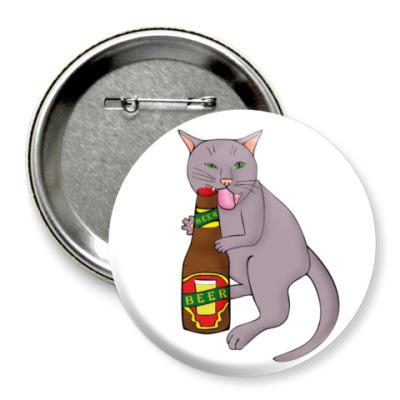 Значок 75мм   'Кот и пиво'