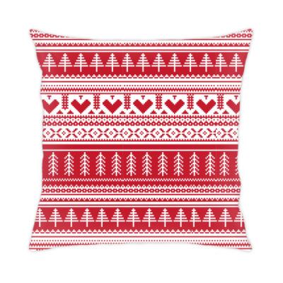 Подушка имитация вязаного орнамента
