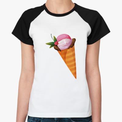 Женская футболка реглан Мороженое в рожке