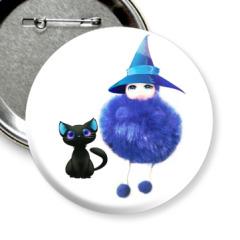 Малышка на хэллоуине с черным котом