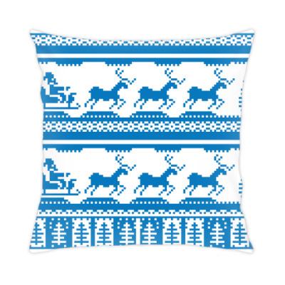 Подушка имитация вязаного орнамента рождество