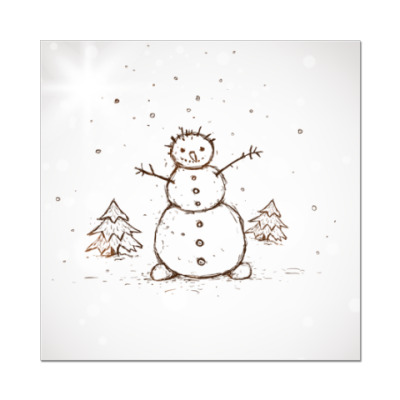 Наклейка (стикер) Снеговик