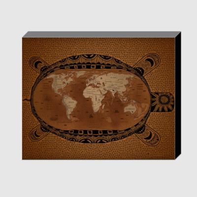 Холст Карта мира на черепахе