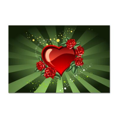 Наклейка (стикер) Сердце в розах