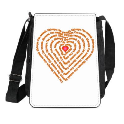 Сумка-планшет Сердце с  Ом намах Шивая