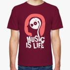 Классическая футболка Музыка это жизнь