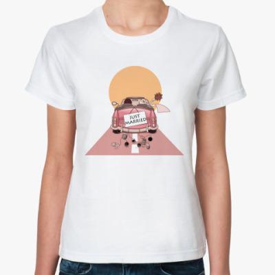 Классическая футболка Just Married - Медовый месяц