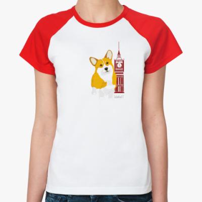 Женская футболка реглан Корги и Лондон