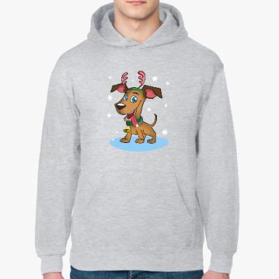 Толстовка худи Пёс - оленьи рога