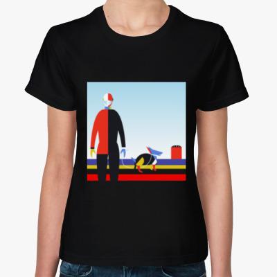 Женская футболка Женская футболка черная Оставайтесь дома