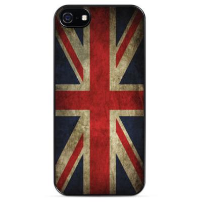 Чехол для iPhone Британский флаг в стиле гранж