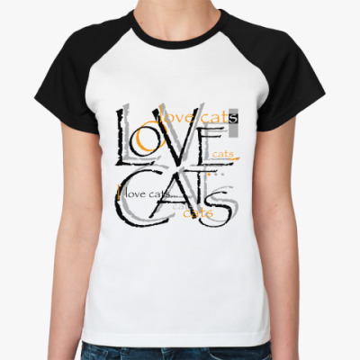 Женская футболка реглан Люблю кошек