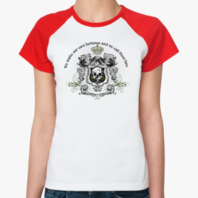Женская футболка реглан skull fortune