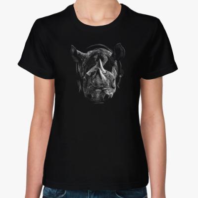 Женская футболка Носорог