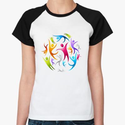 Женская футболка реглан   Человечки