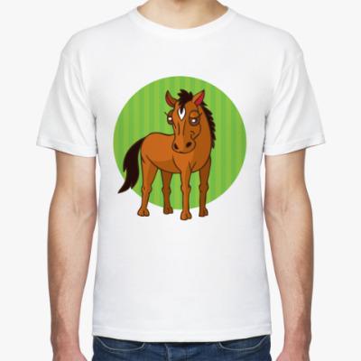 Футболка стилизованная лошадь в круге