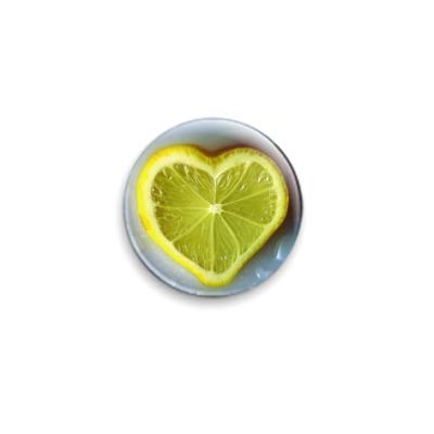 Значок 25мм Лимон-Сердце