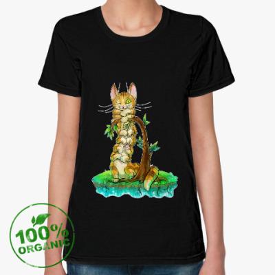 Женская футболка из органик-хлопка Кошачья многоножка