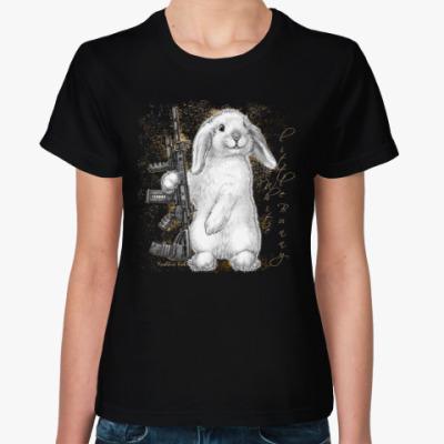Женская футболка Маленький белый зайчик