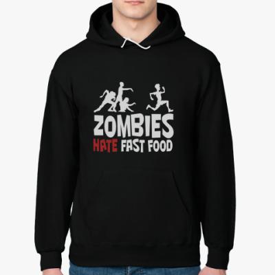 Толстовка худи Zombies hate fast food