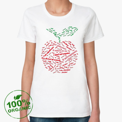 Женская футболка из органик-хлопка Я вегетарианец - яблоко