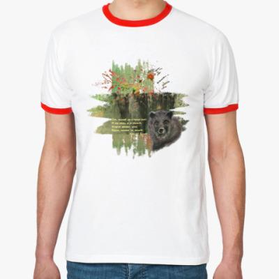 Футболка Ringer-T Медведь. Деревья. Темный лес.