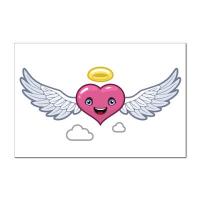 Наклейка (стикер) сердце-ангел