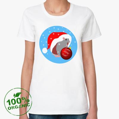Женская футболка из органик-хлопка Поздравление от крысы
