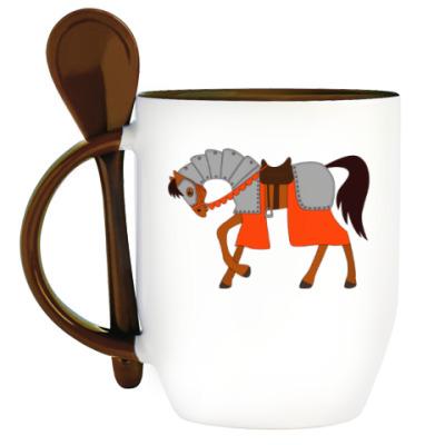 Кружка с ложкой Рыцарский конь